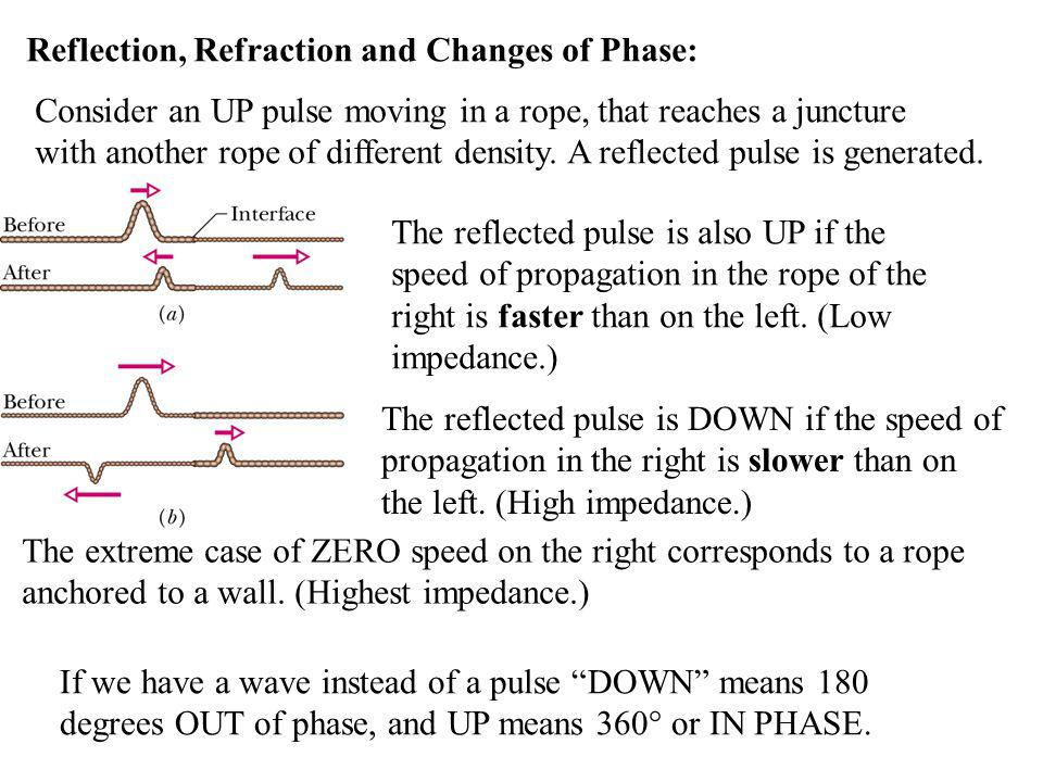 Reflection, Refraction and Changes of Phase: Consider an UP pulse moving in a rope, that reaches a juncture with another rope of different density. A