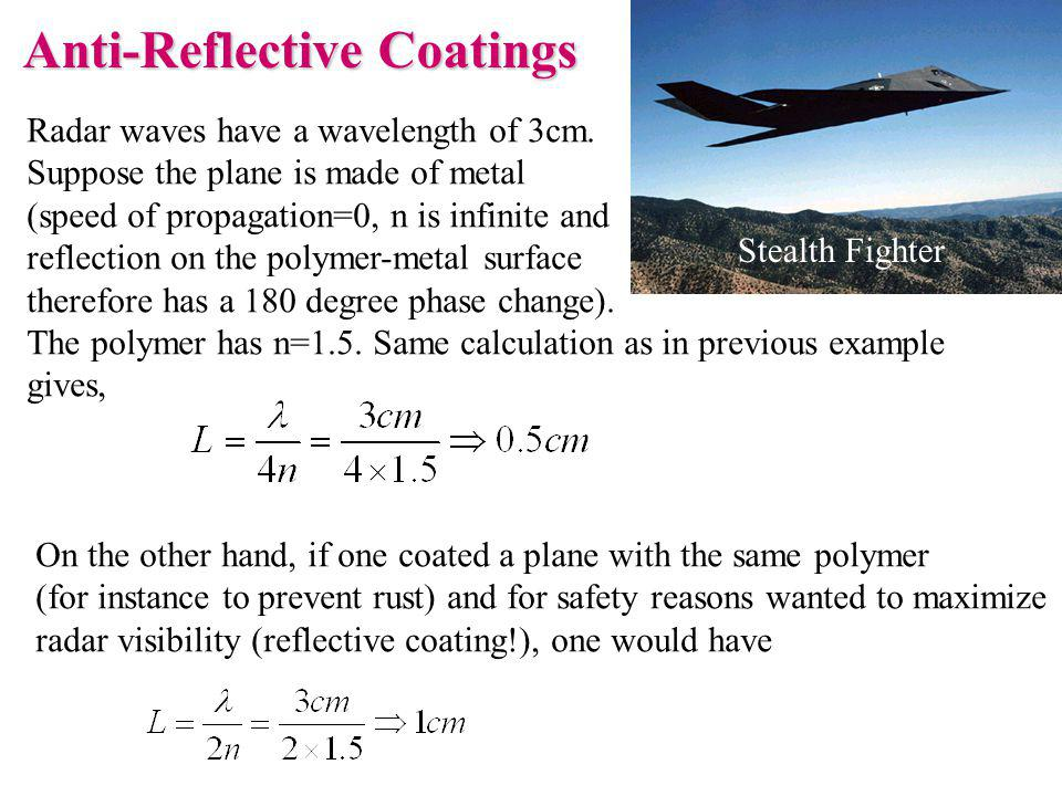 Radar waves have a wavelength of 3cm. Suppose the plane is made of metal (speed of propagation=0, n is infinite and reflection on the polymer-metal su