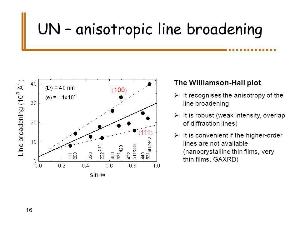 16 UN – anisotropic line broadening The Williamson-Hall plot It recognises the anisotropy of the line broadening It is robust (weak intensity, overlap of diffraction lines) It is convenient if the higher-order lines are not available (nanocrystalline thin films, very thin films, GAXRD) 100 111