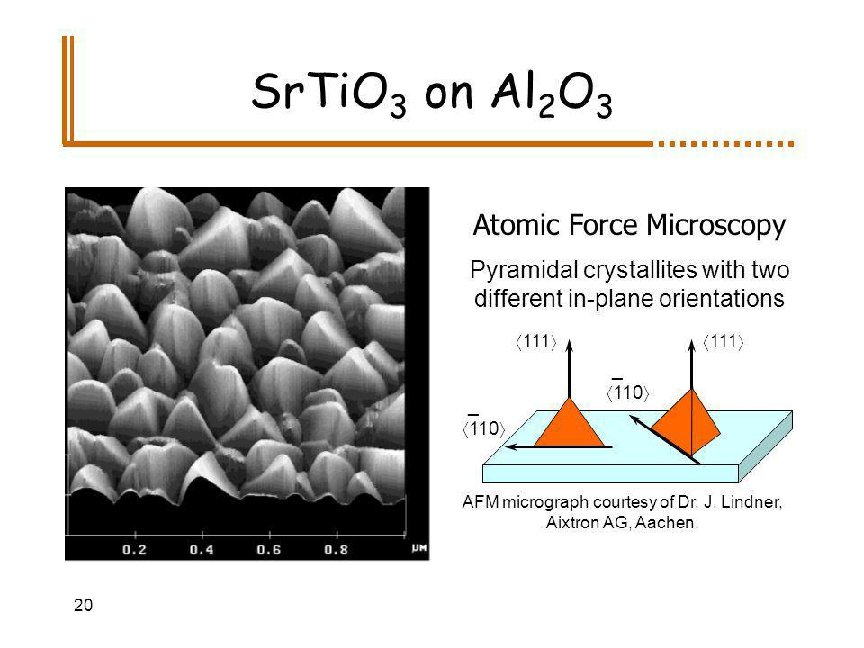 20 SrTiO 3 on Al 2 O 3 Atomic Force Microscopy Pyramidal crystallites with two different in-plane orientations AFM micrograph courtesy of Dr.