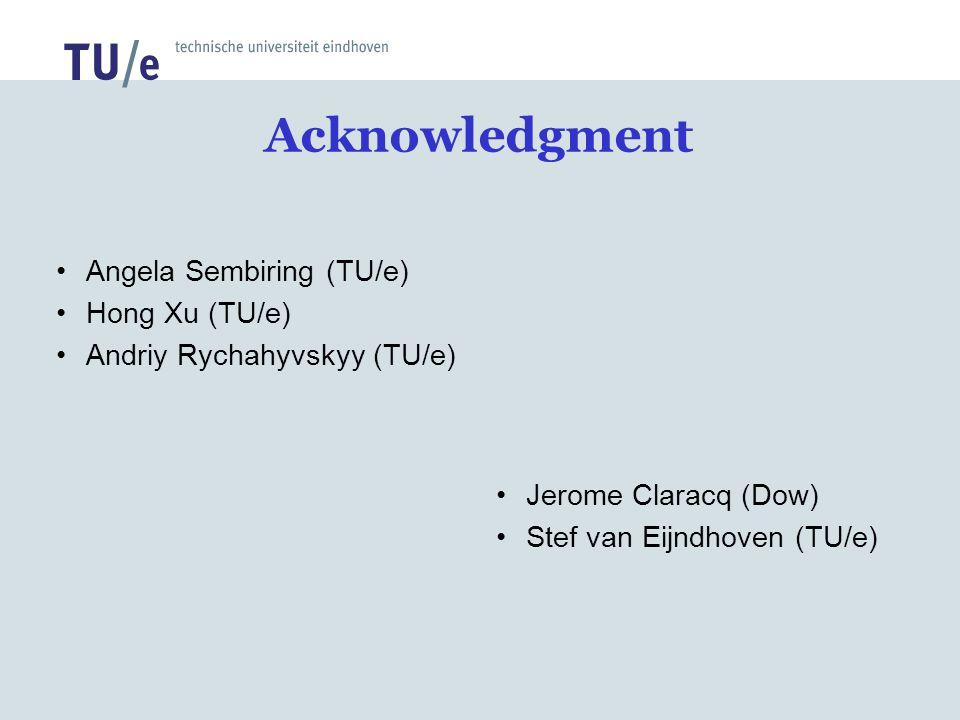 Acknowledgment Angela Sembiring (TU/e) Hong Xu (TU/e) Andriy Rychahyvskyy (TU/e) Jerome Claracq (Dow) Stef van Eijndhoven (TU/e)