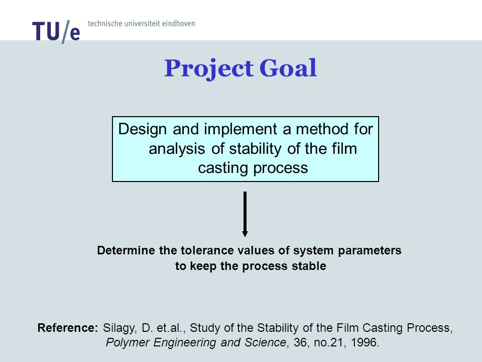 Project Goal Design and implement a method for analysis of stability of the film casting process Determine the tolerance values of system parameters t