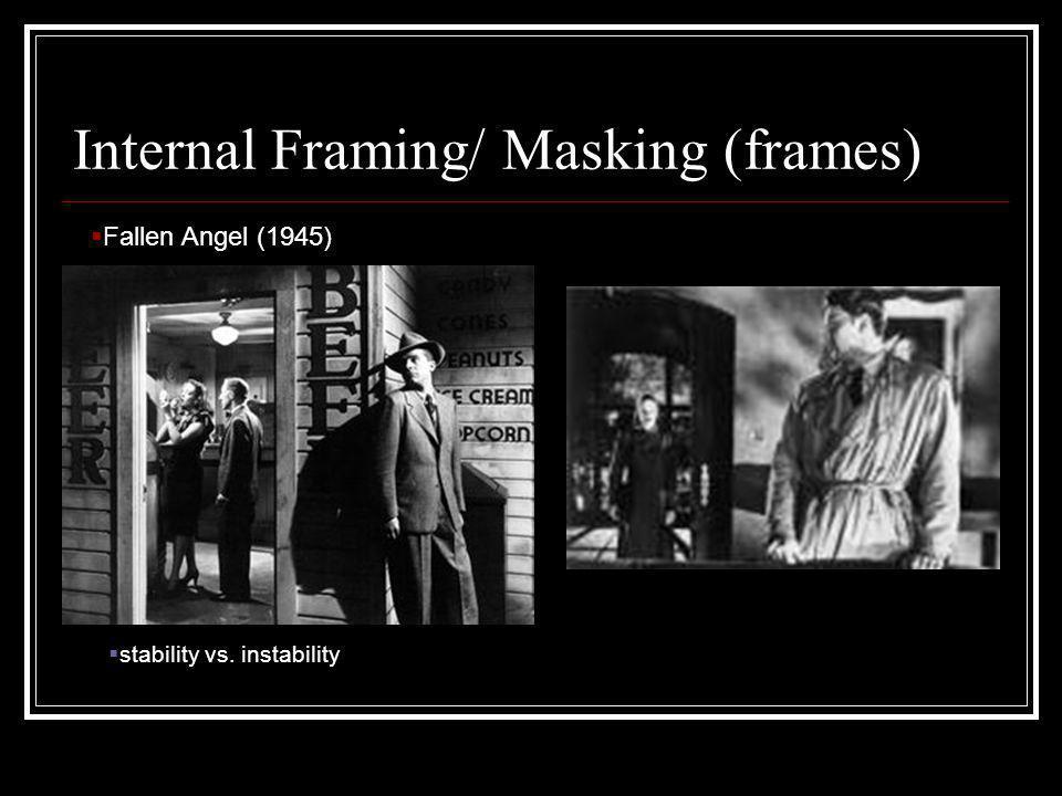 Internal Framing/ Masking (frames) Fallen Angel (1945) stability vs. instability