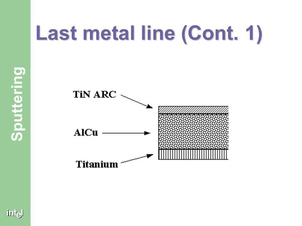 ® Sputtering Last metal line The Titanium layers is deposited first because the last metal layer must connect to the bond pads that connect the microp