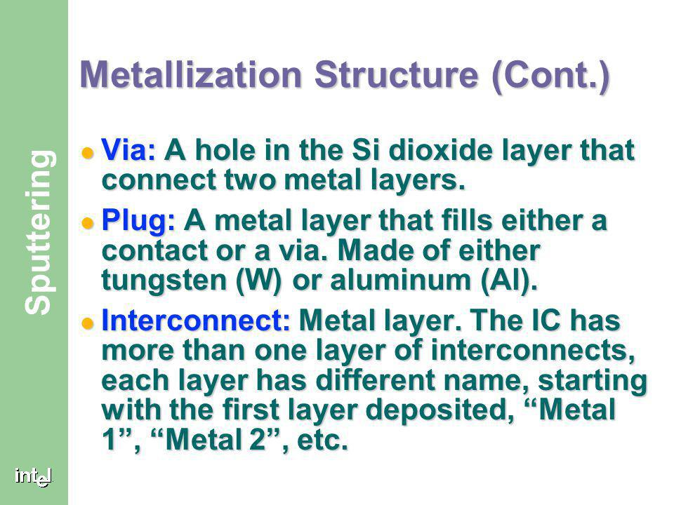 ® Sputtering Metallization Structure (Cont.) Via: A hole in the Si dioxide layer that connect two metal layers.