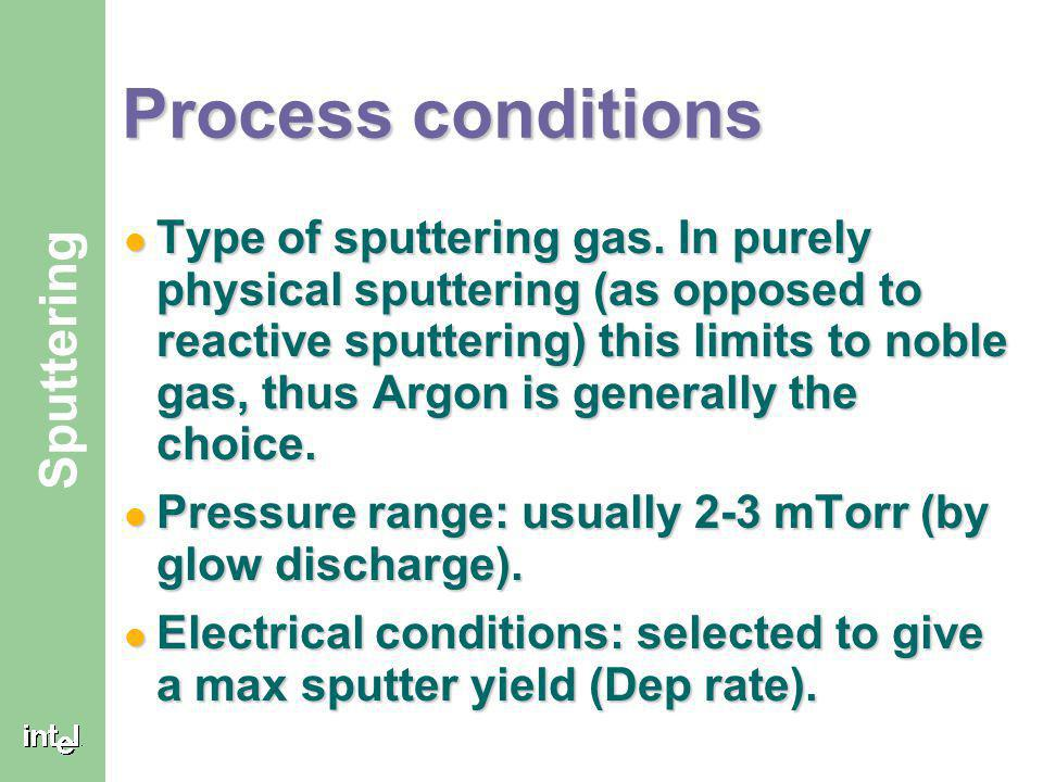 ® Sputtering Sputter yield (Cont. 1) Sputter yield peaks at <90º. Sputter yield peaks at <90º. Atoms leave the surface with cosine distribution. Atoms