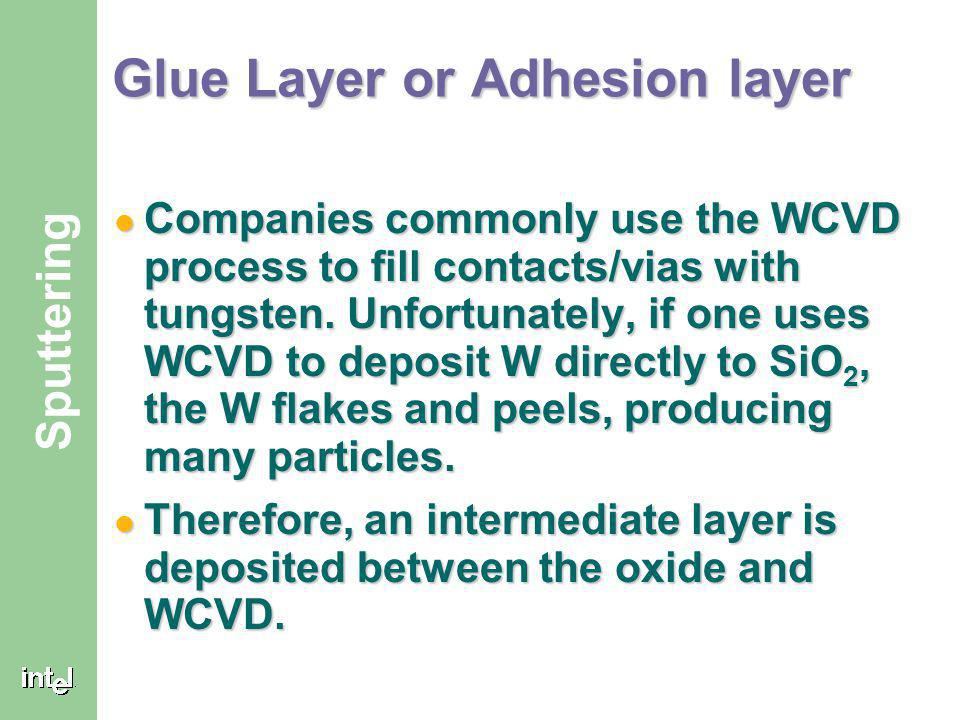 ® Sputtering Glue Layer or Adhesion layer Companies commonly use the WCVD process to fill contacts/vias with tungsten.