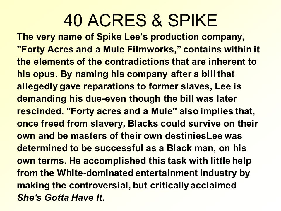 40 ACRES & SPIKE The very name of Spike Lee s production company, Forty Acres and a Mule Filmworks, contains within it the elements of the contradictions that are inherent to his opus.