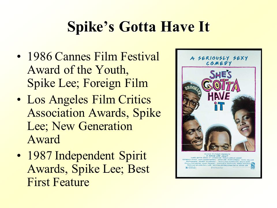 Spikes Gotta Have It 1986 Cannes Film Festival Award of the Youth, Spike Lee; Foreign Film Los Angeles Film Critics Association Awards, Spike Lee; New Generation Award 1987 Independent Spirit Awards, Spike Lee; Best First Feature
