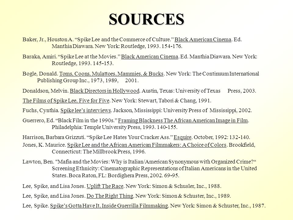 SOURCES Bogle, Donald. Toms, Coons, Mulattoes, Mammies, & Bucks.