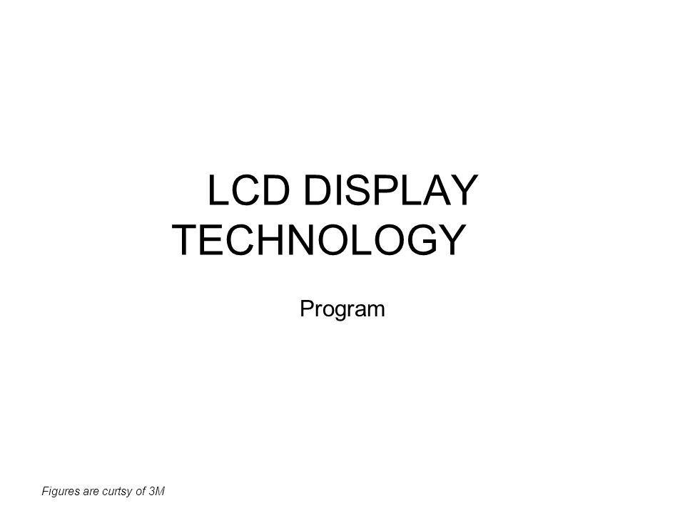 Figures are curtsy of 3M LCD DISPLAY TECHNOLOGY Program