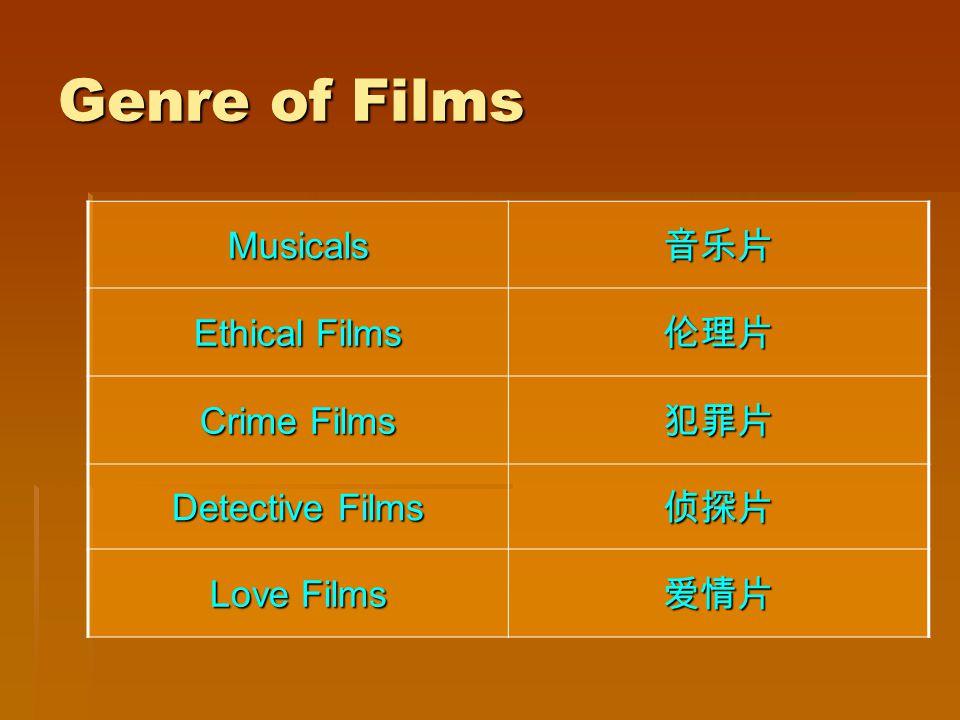 Genre of Films Musicals Ethical Films Crime Films Detective Films Love Films