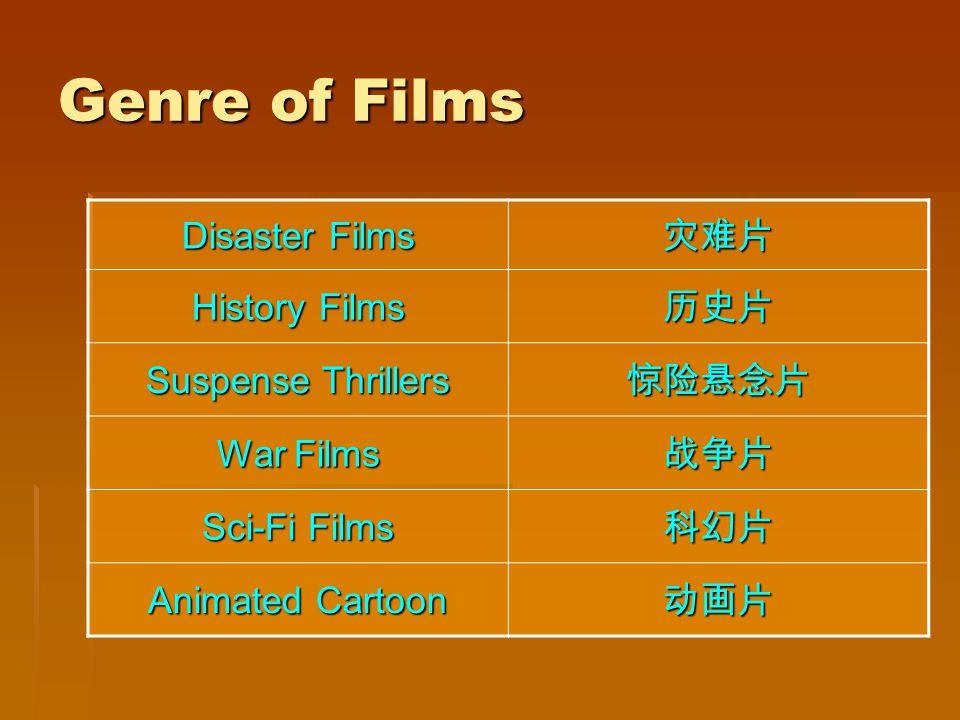 Genre of Films Disaster Films History Films Suspense Thrillers War Films Sci-Fi Films Animated Cartoon
