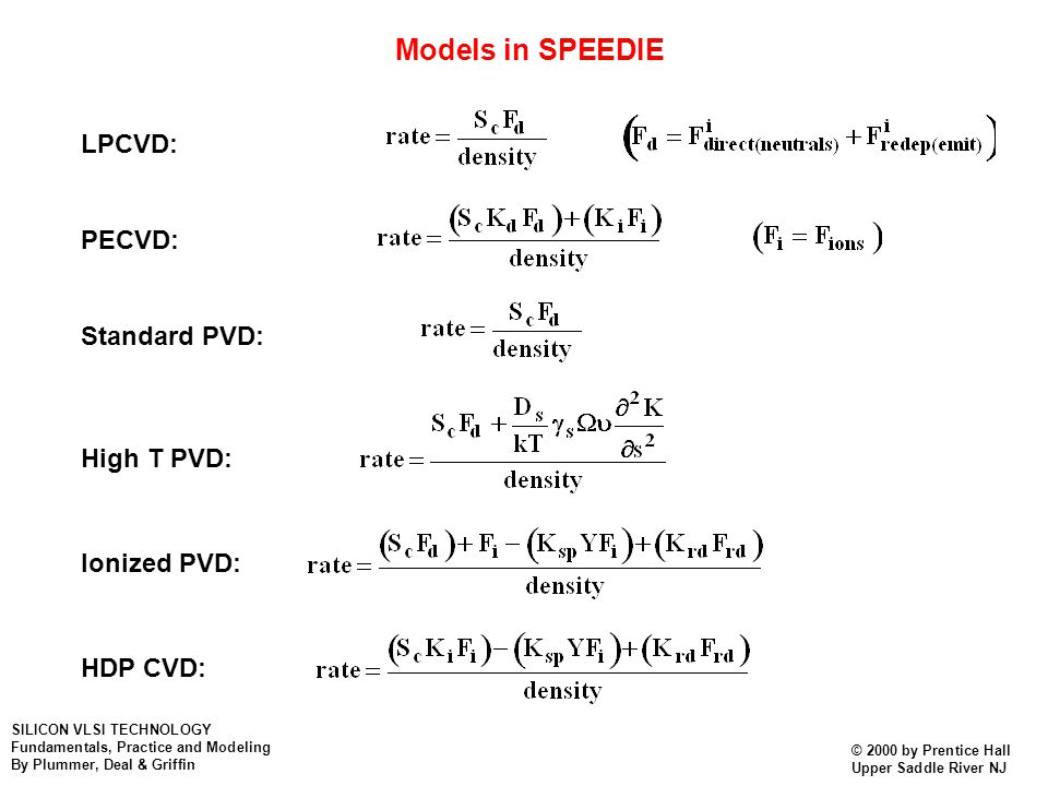 Models in SPEEDIE LPCVD: PECVD: Standard PVD: High T PVD: Ionized PVD: HDP CVD: SILICON VLSI TECHNOLOGY Fundamentals, Practice and Modeling By Plummer