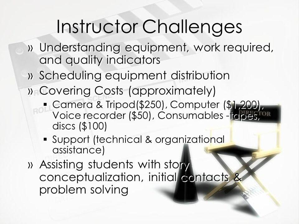 Instructor Challenges »Understanding equipment, work required, and quality indicators »Scheduling equipment distribution »Covering Costs (approximately) Camera & Tripod($250), Computer ($1,200), Voice recorder ($50), Consumables -tapes, discs ($100) Support (technical & organizational assistance) »Assisting students with story conceptualization, initial contacts & problem solving »Understanding equipment, work required, and quality indicators »Scheduling equipment distribution »Covering Costs (approximately) Camera & Tripod($250), Computer ($1,200), Voice recorder ($50), Consumables -tapes, discs ($100) Support (technical & organizational assistance) »Assisting students with story conceptualization, initial contacts & problem solving