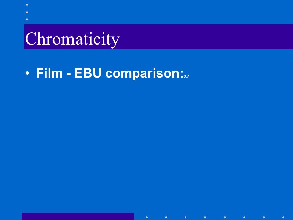 Chromaticity Film - EBU comparison: 9,7