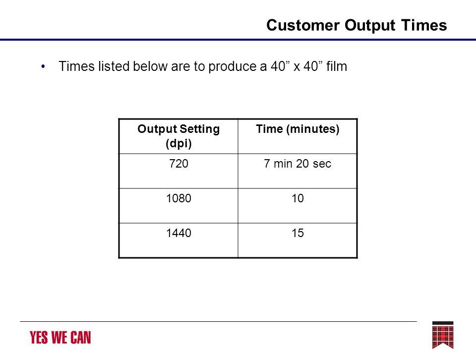 Customer Output Times Times listed below are to produce a 40 x 40 film Output Setting (dpi) Time (minutes) 7207 min 20 sec 108010 144015