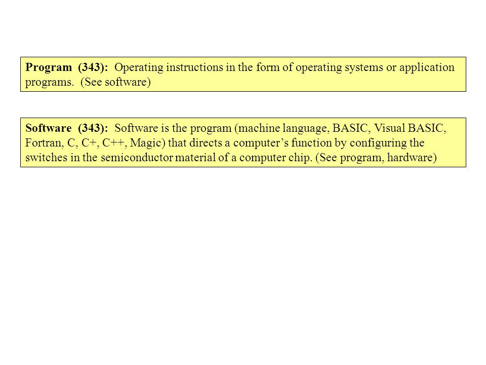 Program (343): Operating instructions in the form of operating systems or application programs. (See software) Software (343): Software is the program