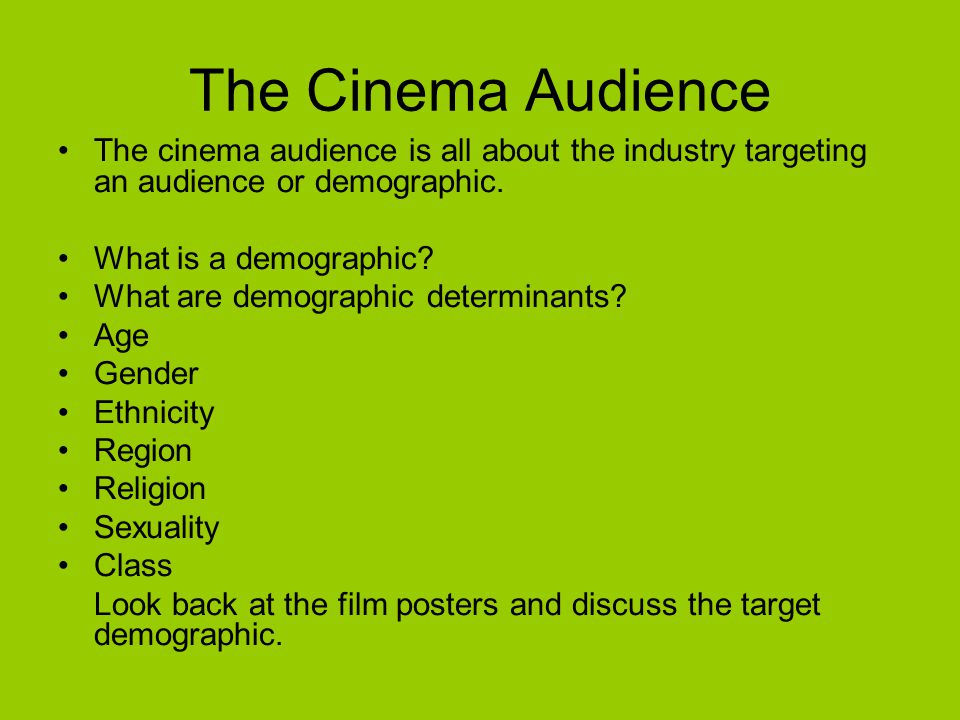 Audience Profiles Before a film is released it has to be market researched to its target demographic by the industry What is market research.