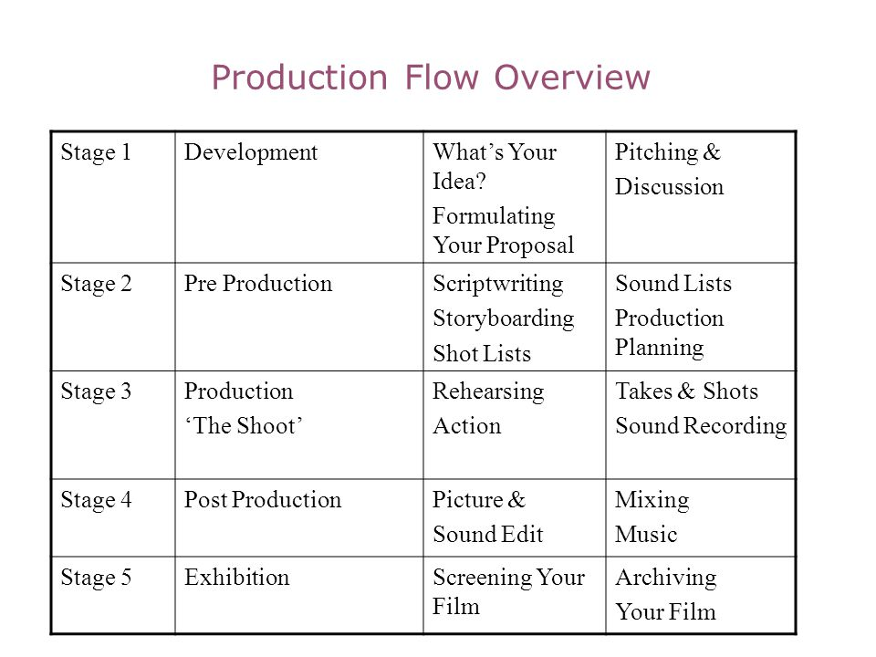 Production Flow Overview Stage 1DevelopmentWhats Your Idea? Formulating Your Proposal Pitching & Discussion Stage 2Pre ProductionScriptwriting Storybo
