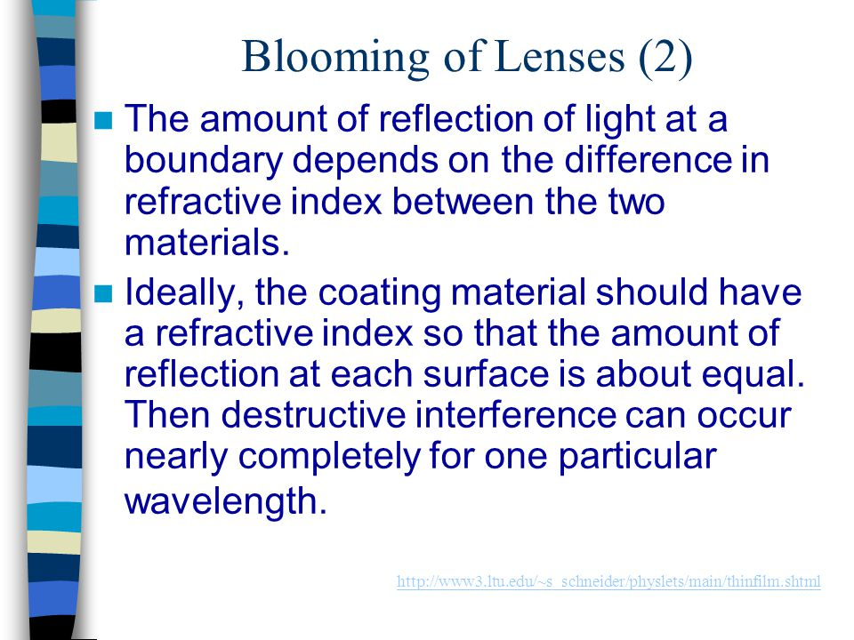 Blooming of Lenses (2) The amount of reflection of light at a boundary depends on the difference in refractive index between the two materials. Ideall