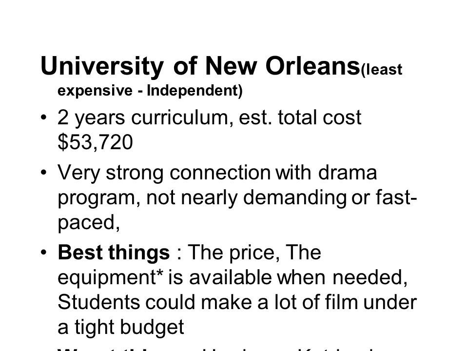 University of New Orleans (least expensive - Independent) 2 years curriculum, est.