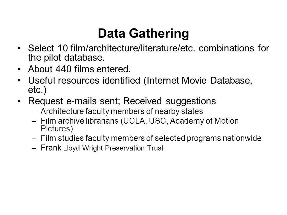 Data Gathering Select 10 film/architecture/literature/etc. combinations for the pilot database. About 440 films entered. Useful resources identified (