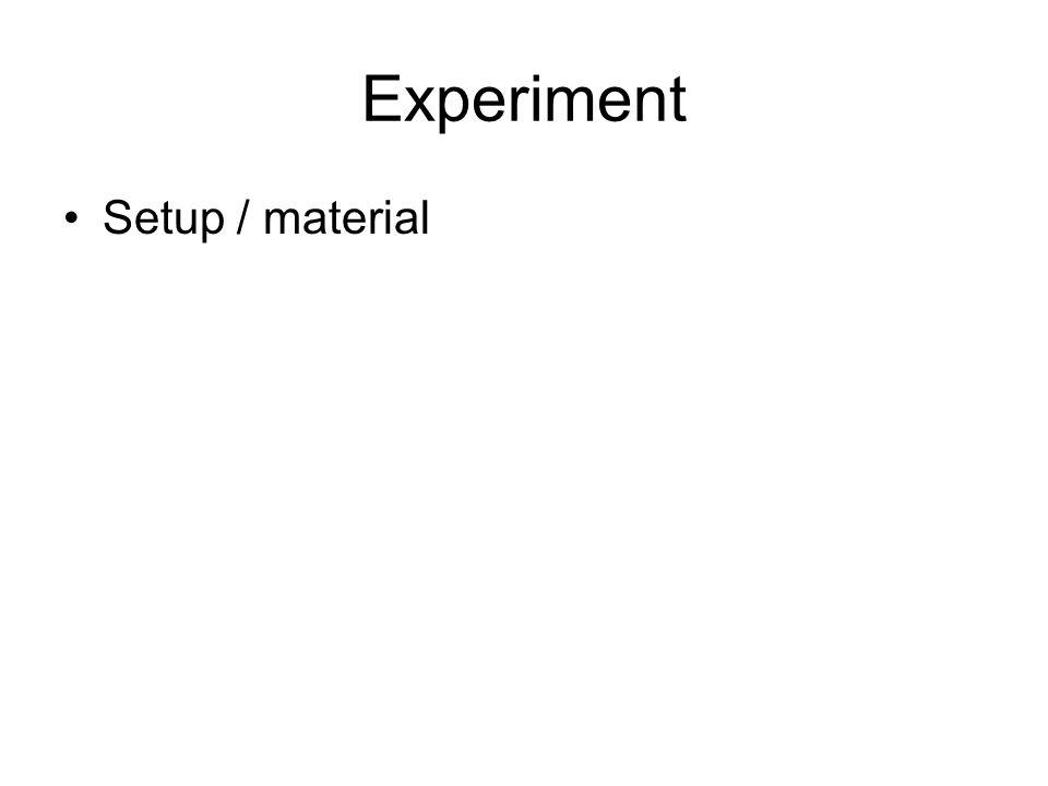 Experiment Setup / material