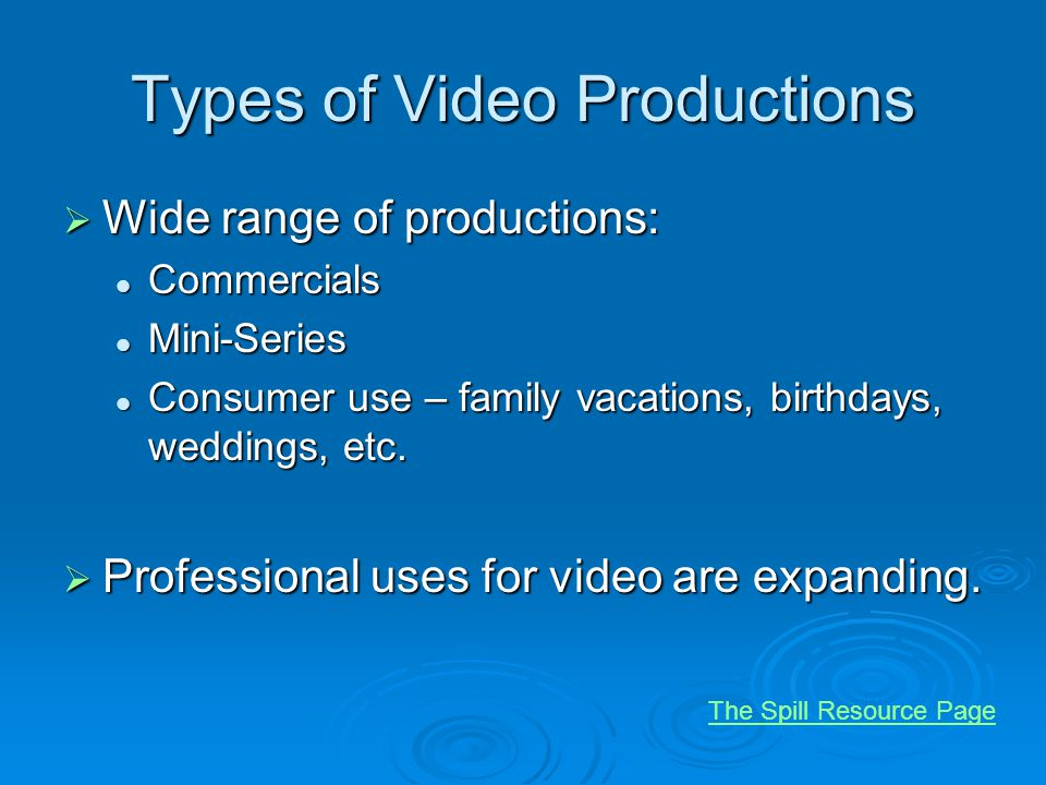 Types of Video Productions Wide range of productions: Wide range of productions: Commercials Commercials Mini-Series Mini-Series Consumer use – family vacations, birthdays, weddings, etc.