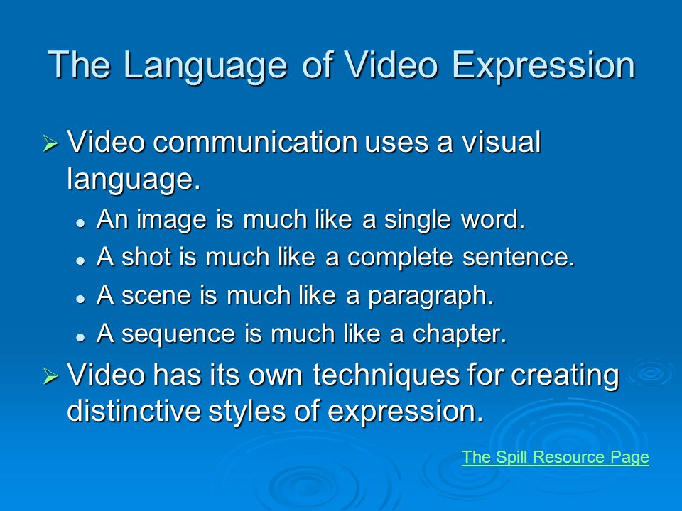 The Language of Video Expression Video communication uses a visual language.
