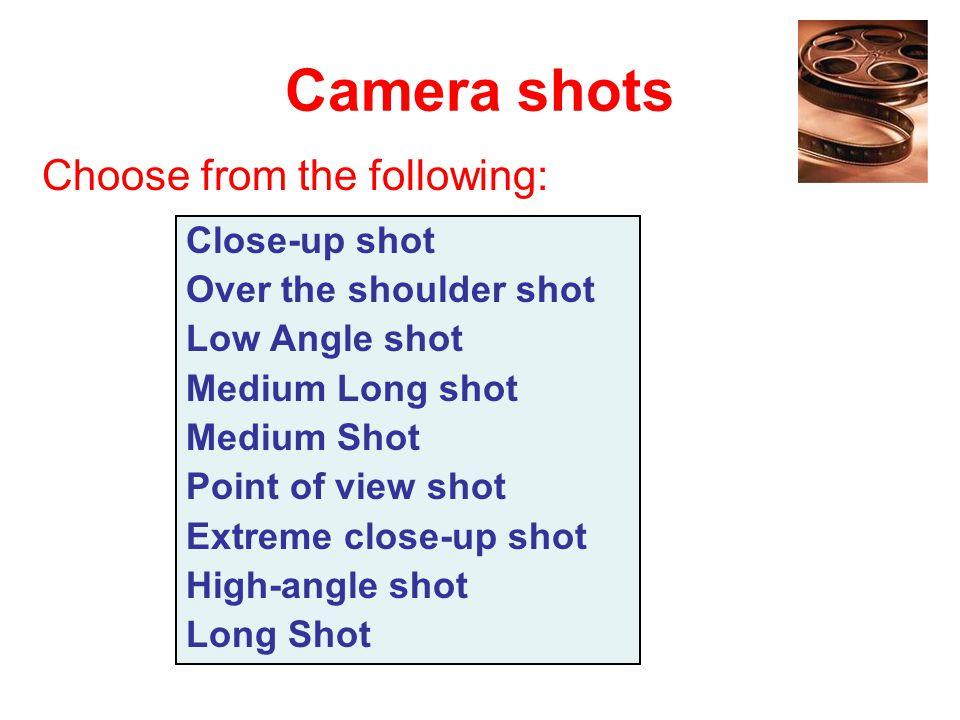 Camera shots Close-up shot Over the shoulder shot Low Angle shot Medium Long shot Medium Shot Point of view shot Extreme close-up shot High-angle shot