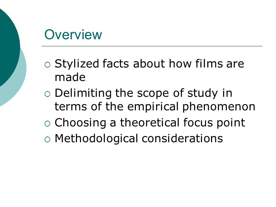 Methodological considerations Difficulty of obtaining survey-based data on film producers Small populations Hard to obtain response rates Obtaining qualitative data also problematic Industry used to (self-)representation Possible reluctance to disclose non-successes Need for a mixed-method design Determine the intended insights to be derived from each data source Determine how to interrelate and integrate different data sources
