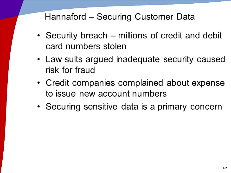 1-21 Hannaford – Securing Customer Data Security breach – millions of credit and debit card numbers stolen Law suits argued inadequate security caused risk for fraud Credit companies complained about expense to issue new account numbers Securing sensitive data is a primary concern
