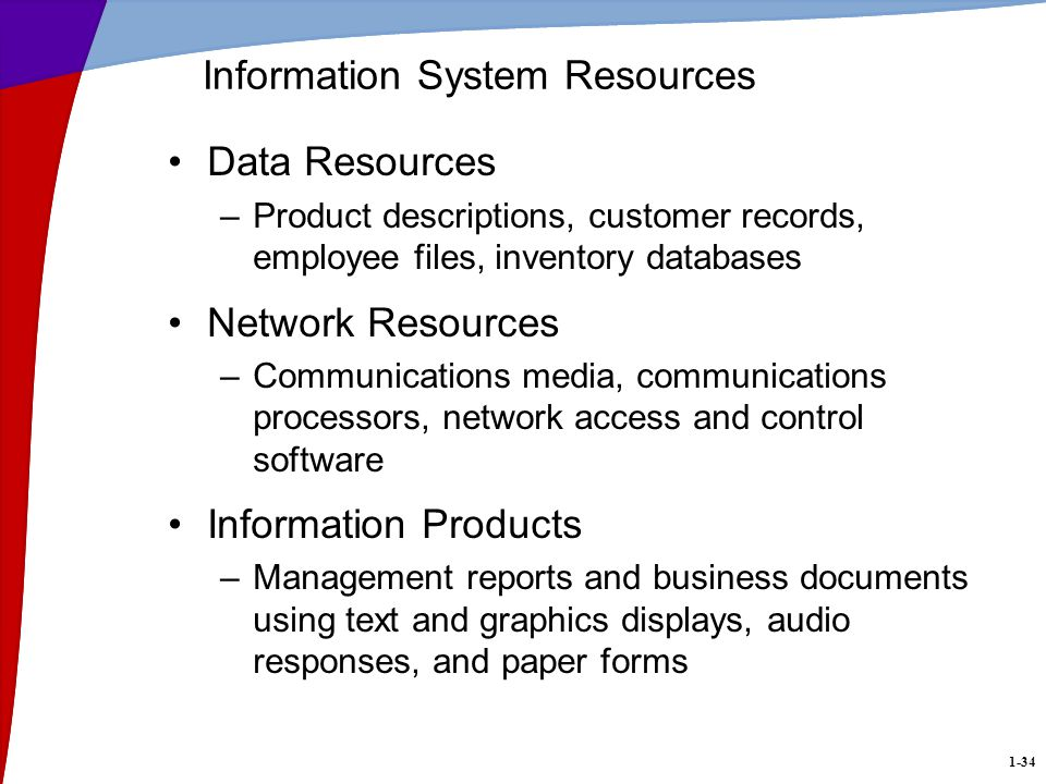 1-34 Information System Resources Data Resources –Product descriptions, customer records, employee files, inventory databases Network Resources –Communications media, communications processors, network access and control software Information Products –Management reports and business documents using text and graphics displays, audio responses, and paper forms