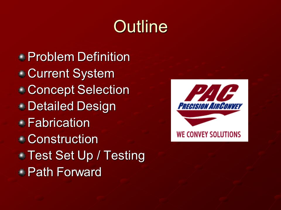 Outline Problem Definition Current System Concept Selection Detailed Design FabricationConstruction Test Set Up / Testing Path Forward