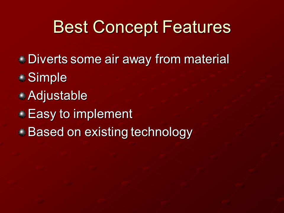 Best Concept Features Diverts some air away from material SimpleAdjustable Easy to implement Based on existing technology