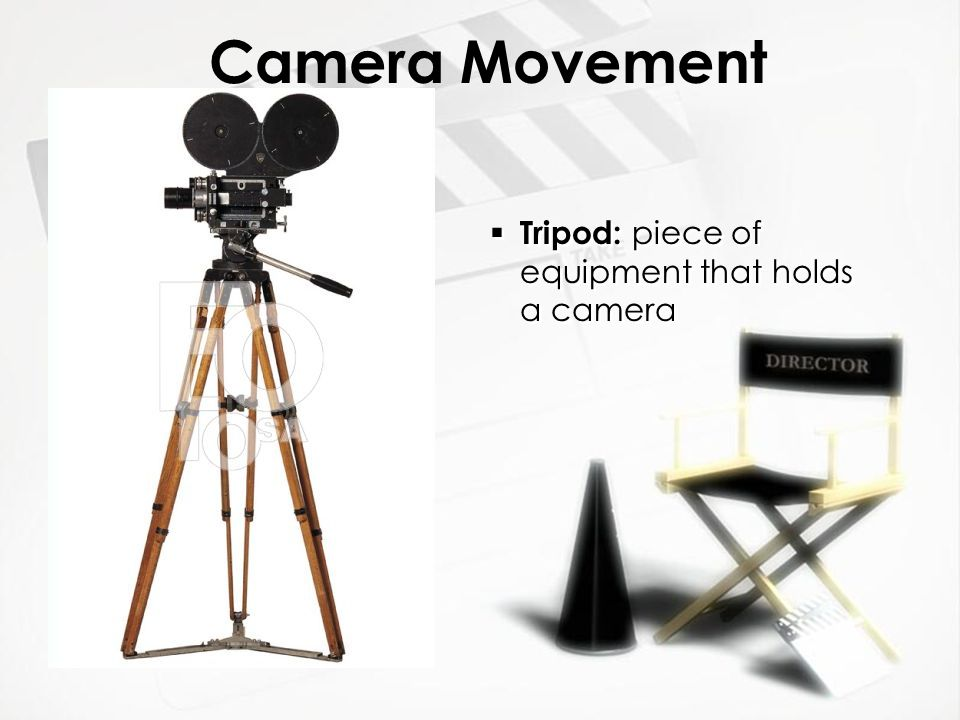 Camera Movement (equipment related) » Dolly : The camera is mounted on a cart which travels along tracks for a very smooth movement.