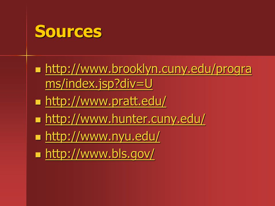 Sources http://www.brooklyn.cuny.edu/progra ms/index.jsp?div=U http://www.brooklyn.cuny.edu/progra ms/index.jsp?div=U http://www.brooklyn.cuny.edu/progra ms/index.jsp?div=U http://www.brooklyn.cuny.edu/progra ms/index.jsp?div=U http://www.pratt.edu/ http://www.pratt.edu/ http://www.pratt.edu/ http://www.hunter.cuny.edu/ http://www.hunter.cuny.edu/ http://www.hunter.cuny.edu/ http://www.nyu.edu/ http://www.nyu.edu/ http://www.nyu.edu/ http://www.bls.gov/ http://www.bls.gov/ http://www.bls.gov/