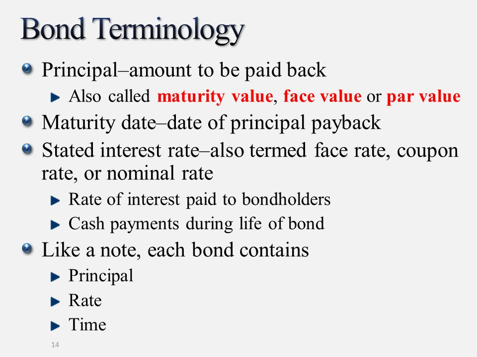 Principal–amount to be paid back Also called maturity value, face value or par value Maturity date–date of principal payback Stated interest rate–also termed face rate, coupon rate, or nominal rate Rate of interest paid to bondholders Cash payments during life of bond Like a note, each bond contains Principal Rate Time 14