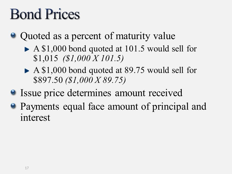 Quoted as a percent of maturity value A $1,000 bond quoted at 101.5 would sell for $1,015 ($1,000 X 101.5) A $1,000 bond quoted at 89.75 would sell for $897.50 ($1,000 X 89.75) Issue price determines amount received Payments equal face amount of principal and interest 17