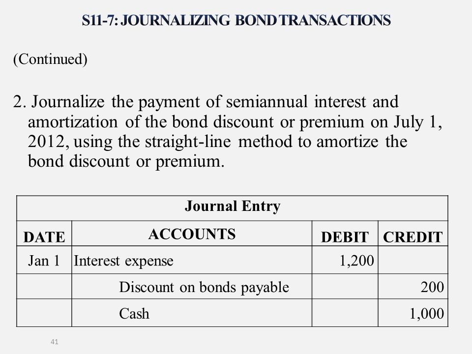 (Continued) 2. Journalize the payment of semiannual interest and amortization of the bond discount or premium on July 1, 2012, using the straight-line