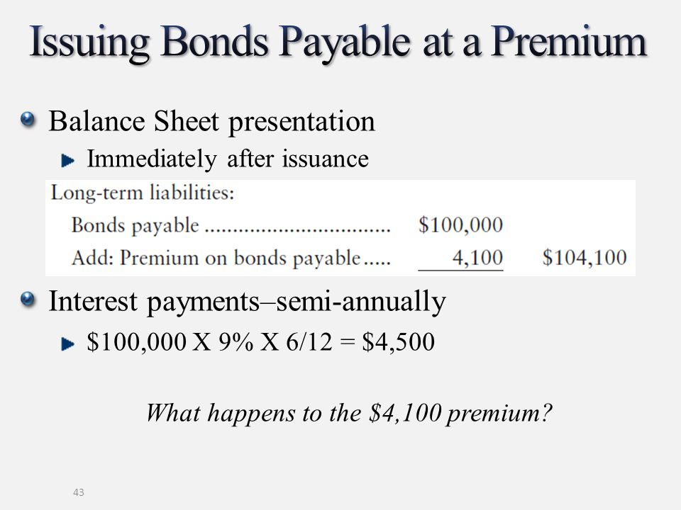 43 Balance Sheet presentation Immediately after issuance Interest payments–semi-annually $100,000 X 9% X 6/12 = $4,500 What happens to the $4,100 premium?