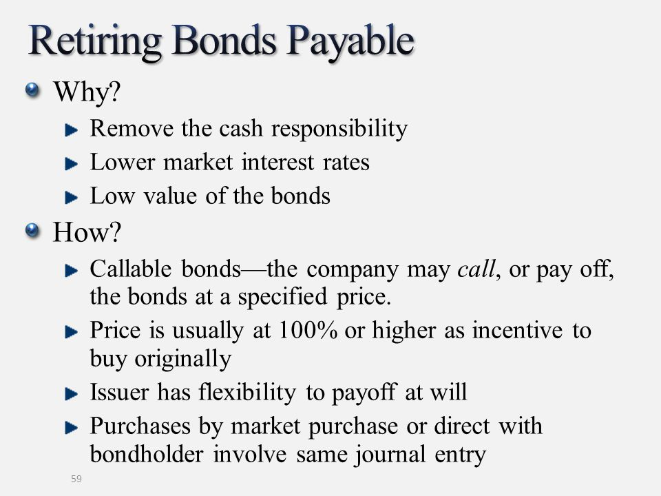 Why? Remove the cash responsibility Lower market interest rates Low value of the bonds How? Callable bondsthe company may call, or pay off, the bonds