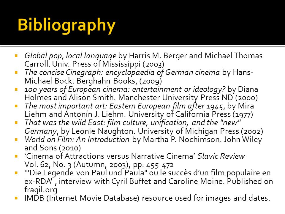 Global pop, local language by Harris M. Berger and Michael Thomas Carroll. Univ. Press of Mississippi (2003) The concise Cinegraph: encyclopaedia of G