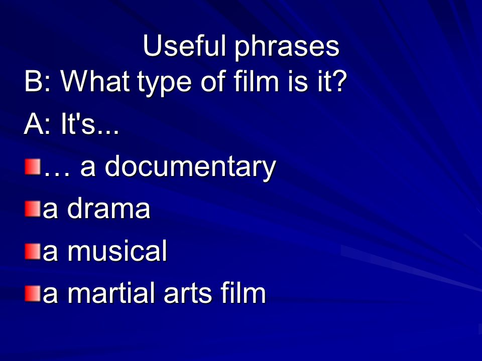 Useful phrases B: What type of film is it. A: It s...