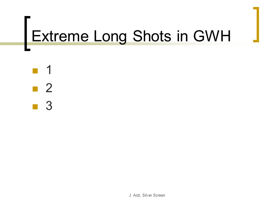 J. Arzt, Silver Screen Extreme Long Shots in GWH 1 2 3
