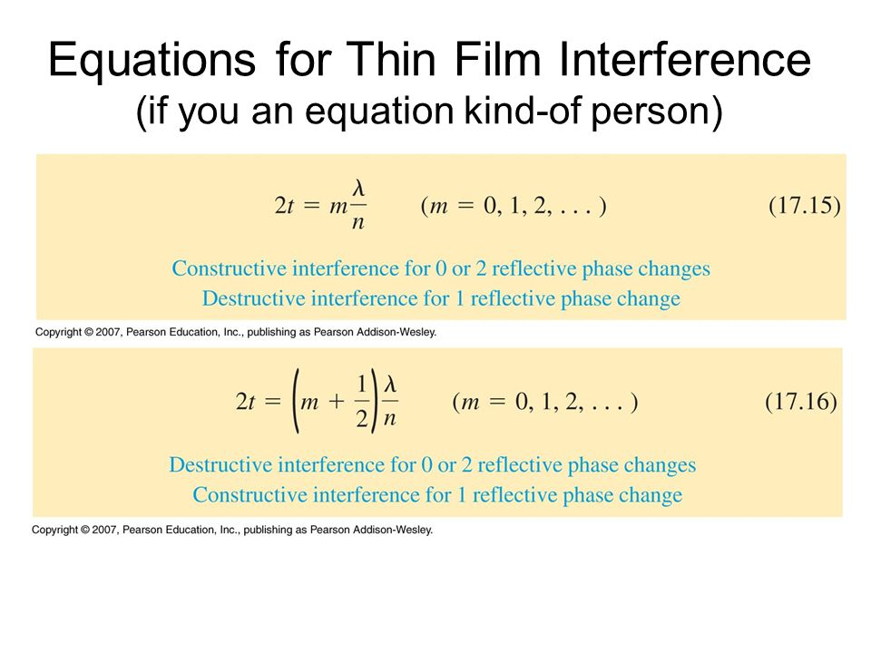 Equations for Thin Film Interference (if you an equation kind-of person)