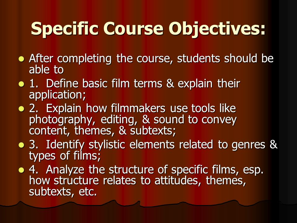 Specific Course Objectives: After completing the course, students should be able to After completing the course, students should be able to 1.