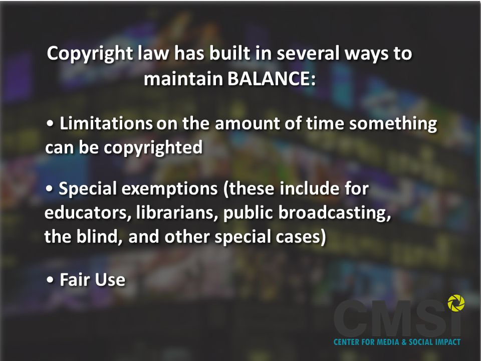 FAIR USE Section of copyright law that protects the rights of creators who want to incorporate other peoples copyrighted material into their work.