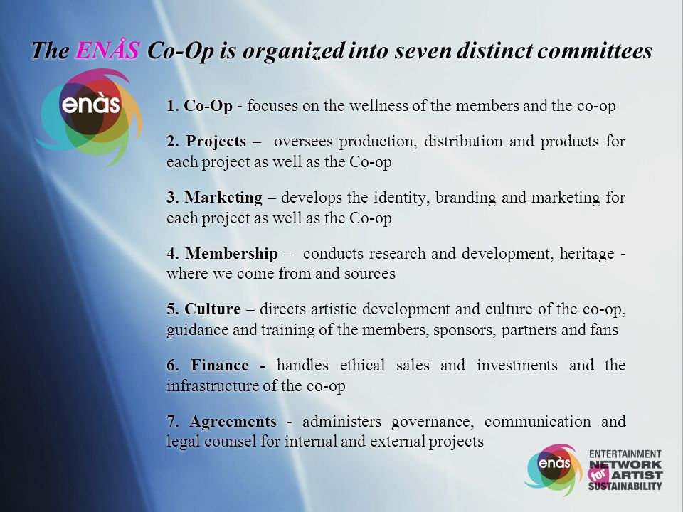 The ENÅS Co-Op is organized into seven distinct committees 1.